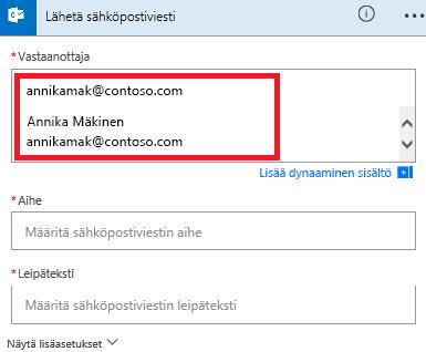 Näyttökuva: Valitse sähköposti luettelosta