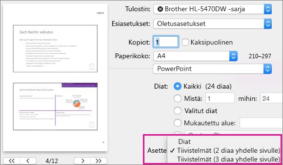 PowerPoint for Macin tulostettavien tiivistelmien esikatselu