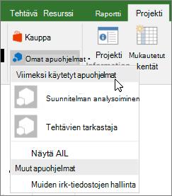 Projekti-välilehden näyttökuva Omat apuohjelmat-alue, jossa kohdistin viimeksi käytetyt apuohjelmat avattavasta vieressä. Useita apuohjelmat nimet tulevat näkyviin, ja voit valita apuohjelman nimi.