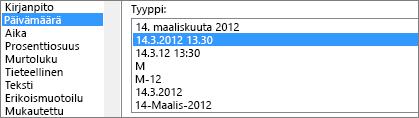 Muotoile solut -valintaikkuna, Päivämäärä-komento, laji 14.3.2012 13.30