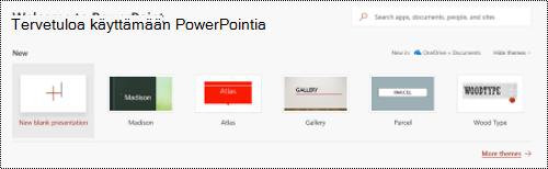 Tervetuloa näkymä, jossa malleja PowerPoint Onlinessa.