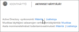 Valitse Active Directory -synkronoinnin kohdalla Määritä