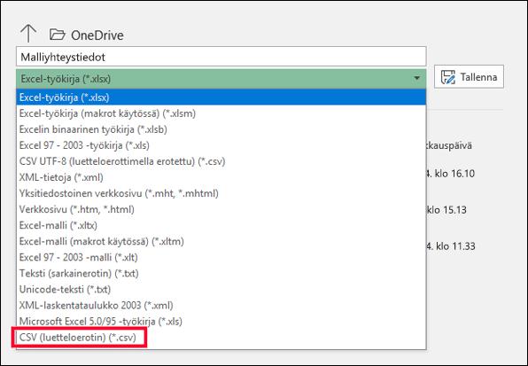 Tallenna Excel-tiedostosi CSV-tiedostona.