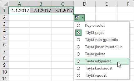 Peräkkäisten päivämäärien luettelon luominen täyttökahvan avulla