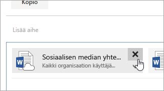 Näyttökuva Poista liite -painikkeesta.