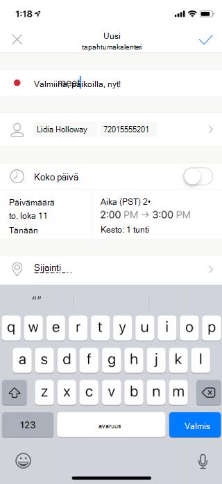 Näyttää sähköpostiviestin mobiililaitteen näytöllä. Näet tapahtumaan kutsuttavat osallistujat ja kokouksen päivän ja kellonajan. Myös valinnainen kokouksen paikka on näkyvissä.