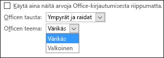 Office-teeman avattava valikko, Värikäs- ja Valkoinen-teema-asetukset