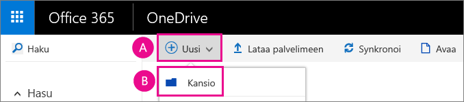 Luo uusi kansio OneDrive for Businessiin.