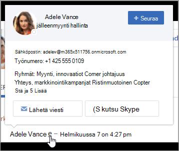 Hovercard käyttäjän yhteystiedot ja ryhmän jäsenyys