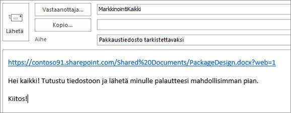 Linkin sisältävän sähköpostiviestin kirjoittaminen