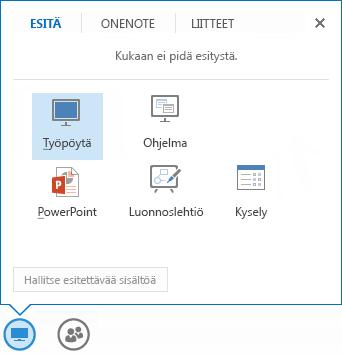 Näyttökuva jakamisvalikosta, jossa on valittuna Esitä-välilehti, jossa näkyy PowerPoint- ja muut jakamisasetukset