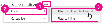 Outlook Web Appin Lisää toimintoja -ikkunassa liitteet tai kuvat