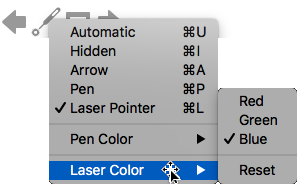 Voit valita laser osoittimen väriä punaisen, vihreän tai sinisen värin.