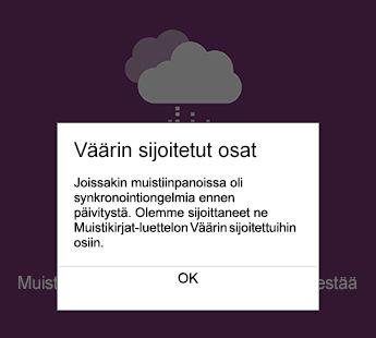 Väärin sijoitetut osat ilmoituksen OneNote for Android