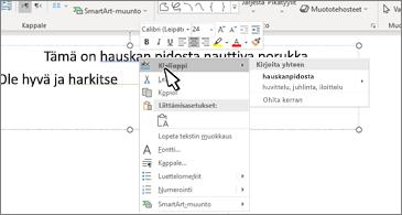 Word-asiakirja, jossa on alleviivattu kielioppivirhe ja ehdotettu korjaus