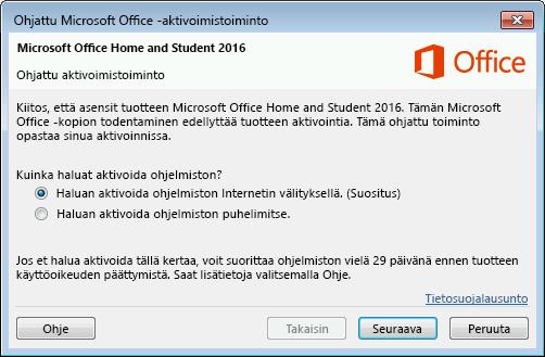 Näyttää Microsoft Officen ohjatun aktivointitoiminnon
