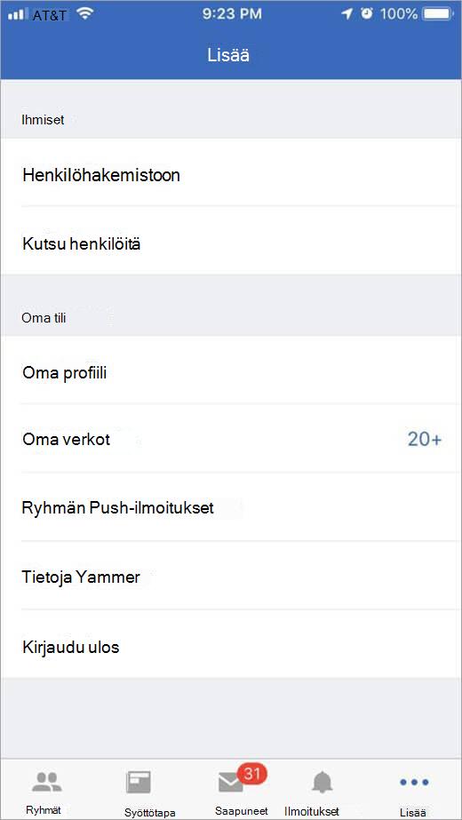 iOS Yammer-sivu, jossa näkyy Lisää vaihtoehtoja
