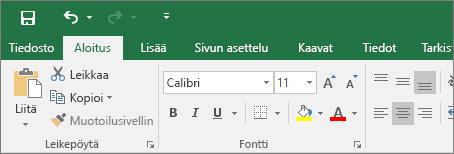 Värikäs valintanauha Excel 2016:ssa