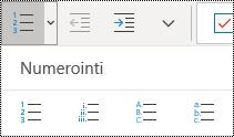 Numeroidun luettelon painike OneNote for Windows 10:n Aloitus-valikon valintanauhassa.