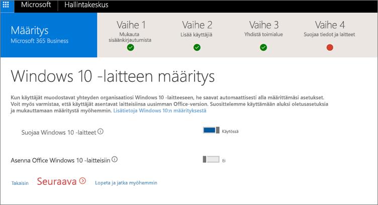 Näyttökuva Windows 10 -laitteiden valmistelu -sivusta