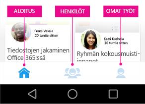 Delve for Androidin päävalikko