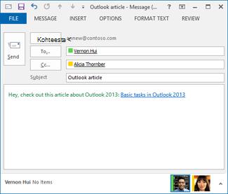 sähköpostiviestin muokattu hyperlinkin teksti
