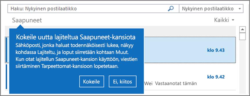 Kuva lajitellusta Saapuneet-kansiosta, kun se on otettu käyttöön käyttäjillä ja Outlook avataan uudelleen.