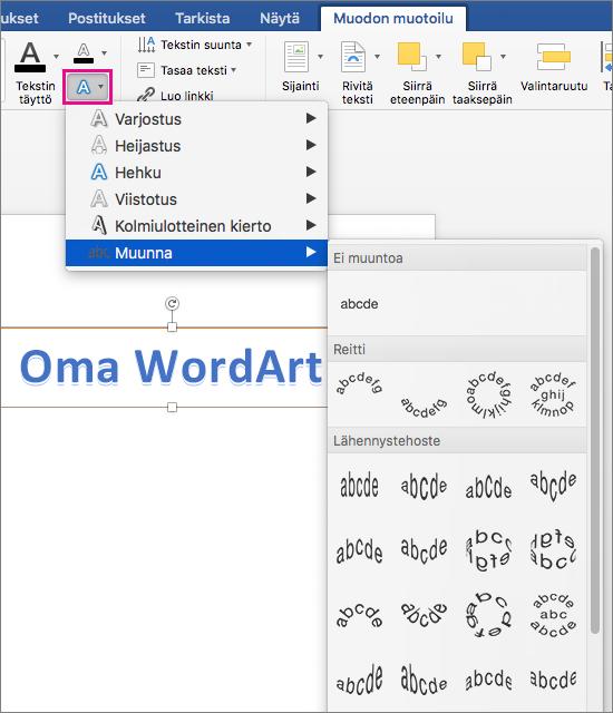 Muodon muotoilu -välilehti, jossa näkyy korostettuna Tekstitehosteet-vaihtoehto.
