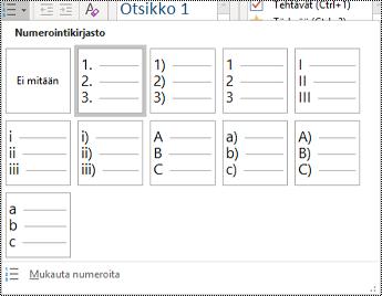 Näyttökuva Numeroitu luettelo -vaihtoehdosta Aloitus-valikossa.