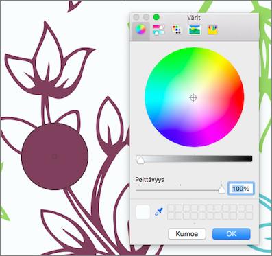 Värinvalitsimen värin esikatselu
