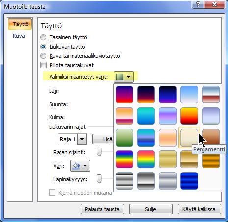 Voit käyttää ennalta määritettyä liukuväriä valitsemalla Valmiiksi määritetyt värit ja valitsemalla vaihtoehdon.