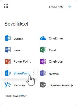 Office 365: n sovellus-luetteloon-sovelluksen käynnistimen painike