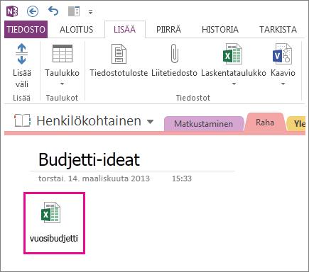 Olemassa olevan Excel-tiedoston lisääminen