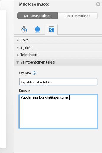 Näyttökuva Muotoile muotoa -ruudusta, jonka vaihtoehtoisen tekstin alueella näkyy valitun taulukon kuvaus