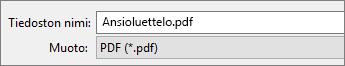 Valitse PDF Tallenna nimellä-ruutuun.