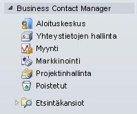 Laajennettu Business Contact Manager -kansio siirtymisruudussa