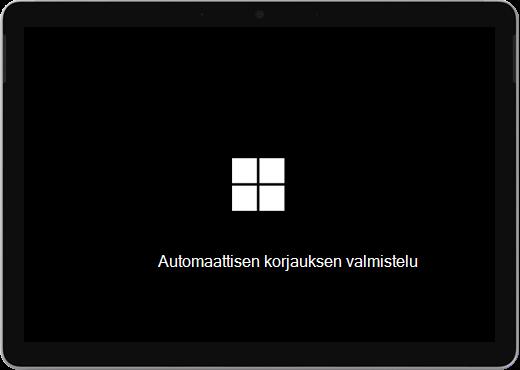 """Musta näyttö, jossa on Windows-logo ja teksti"""" """"Valmistellaan automaattista korjausta""""."""