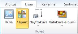 PowerPoint 2010: n valintanauhan Lisää-välilehden ClipArt-kuva-komento