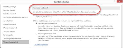 Tietosuoja-asetukset-valintaikkuna, joka näyttää, missä Office-pilvipalvelut otetaan käyttöön tai poistetaan käytöstä.
