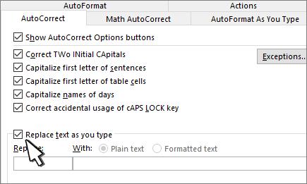 Korvaa kirjoitettaessa -valintaruutu Automaattinen korjaus -välilehdessä