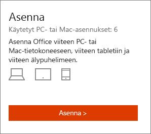 Oma Office -tilisivun Asenna-osa.