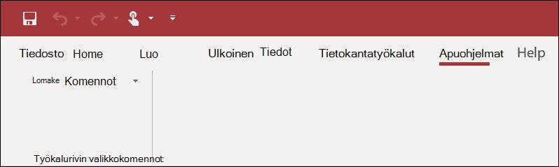 Näyttö kuva apuohjelmien valinta nauhasta Accessissa