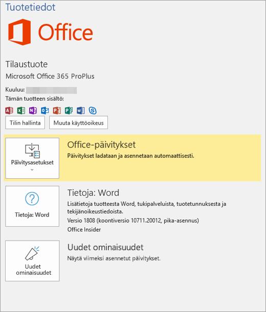 Näyttää Office 365: n Backstage-näkymän
