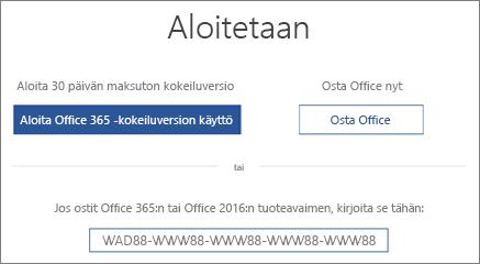 Näyttää aloittamisnäytön, joka on merkki siitä, että laitteessa on Office 365:n kokeiluversio.