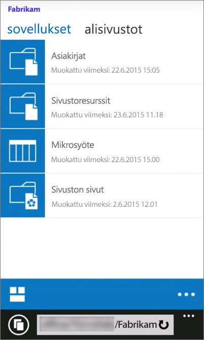 Näyttökuva SharePoint Server 2016 -sivuston mobiilinäkymästä