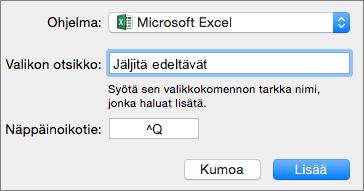 Esimerkki Office 2016 for Macin mukautetuista näppäinoikoteistä