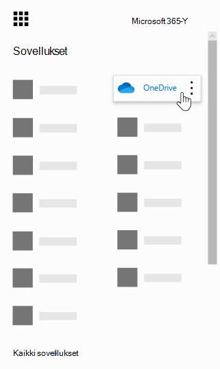 Office 365:n sovellusten käynnistys ja OneDrive-sovellus korostettuina
