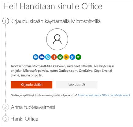 Näyttää setup.office.com-sivun, jolla voit lunastaa tuoteavaimesi