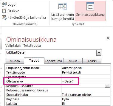 Ominaisuusikkuna, jossa Oletusarvo-ominaisuuden asetuksena on Date().