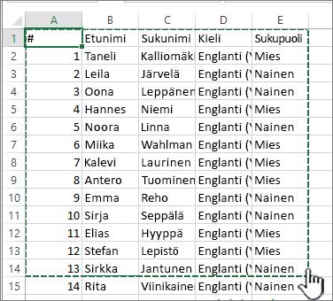 Excel-laskentataulukko, jossa alue näkyy korostettuna